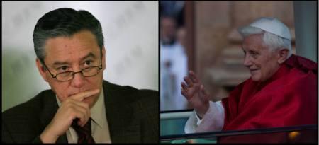 Bernardo Barranco, especialista en el estudio de las religiones (izq.), habló sobre la dimisión del papa benedicto XVI  en entrevista con Carmen Aristegui (Foto: Especial)