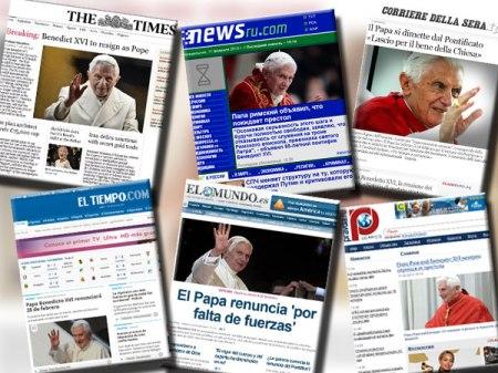 Todos los periódicos del mundo tuvieron en su portada la renuncia del Papa