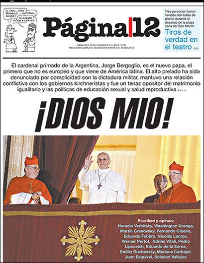 Portada del periódico argentino Página 12