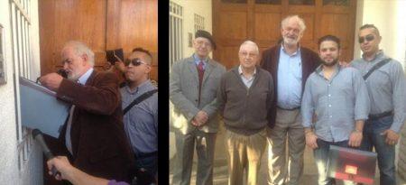 Alberto Athié, José Barba, Joaquín Aguilar entre otros entregando su carta a la nunciatura