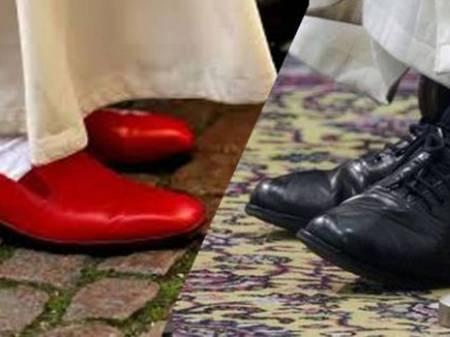 Los zapatos usados por los anteriores Papas y los que usa Bergoglio