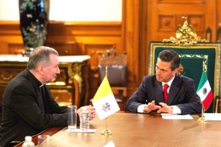 Cardenal Pietro Parolin, Secretario de Estado con el Presidente Peña Nieto