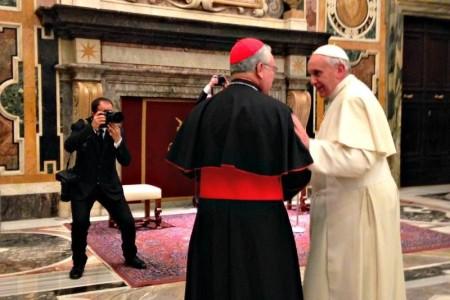 El Papa Francisco con el Cardenal Robles Ortega presidente de la CEM